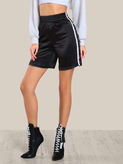 Snap Button Satin Jogger Shorts BLACK