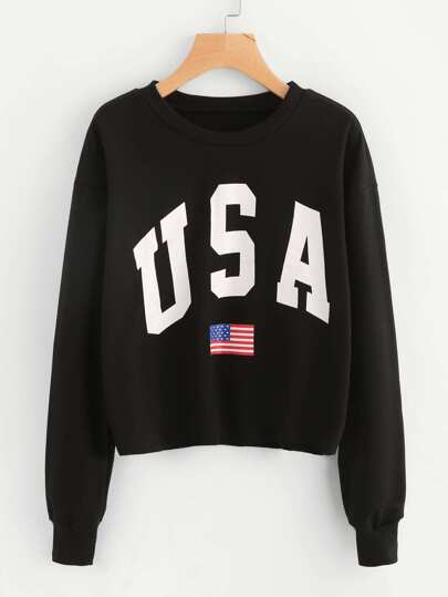 Sweat-shirt imprimé drapeau américain