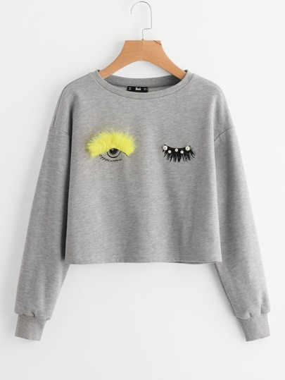 Faux Fur And Beading Wink Eye Drop Shoulder Sweatshirt