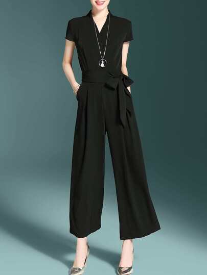V Neck Tie-Waist Pockets Jumpsuit