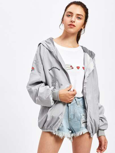 Letter Print Hooded Zip Up Jacket