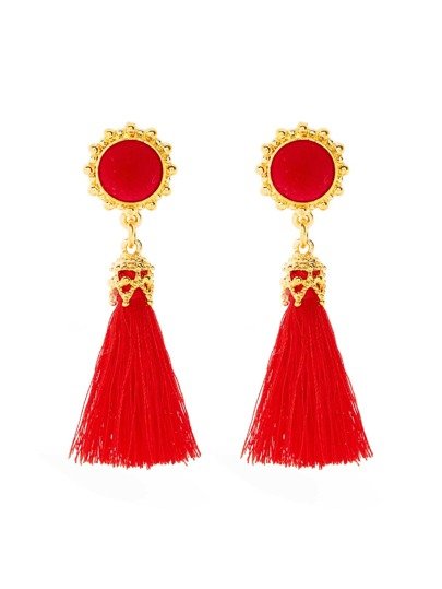 Contrast Tassel Drop Earrings