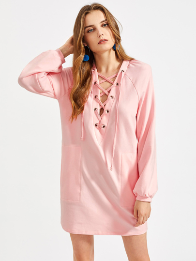 Grommet Lace Up Plunge Neck Raglan Sleeve Dress