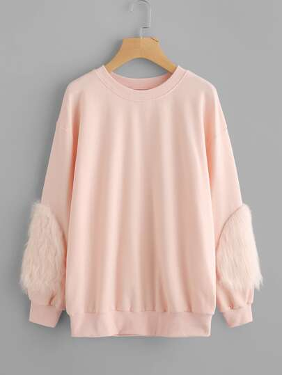 Drop Shoulder Fluffy Patch Detail Sweatshirt
