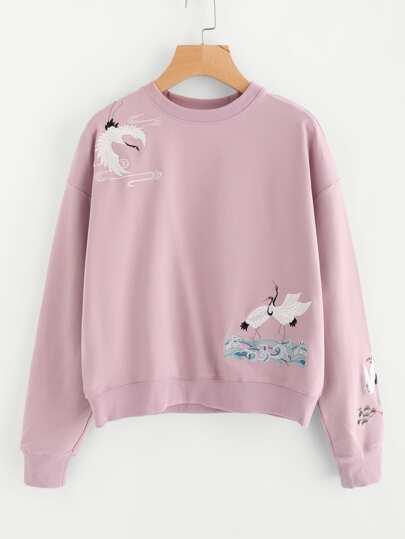 Drop Shoulder Crane Bird Embroidered Sweatshirt