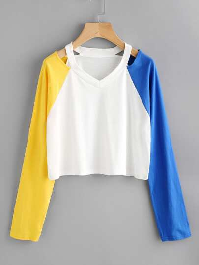 Contrast Raglan Sleeve Ripped Neck Crop Tee