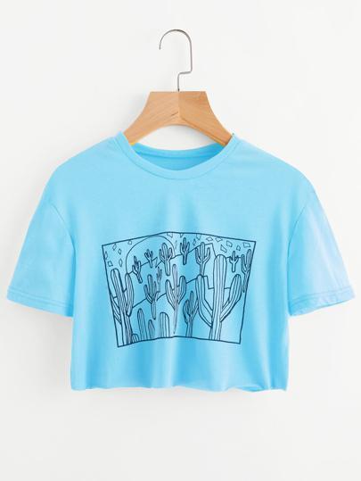 Camiseta corta con estampado de cacto