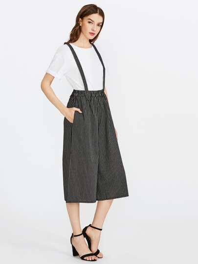 Pantalons jambe large à rayures avec bretelle