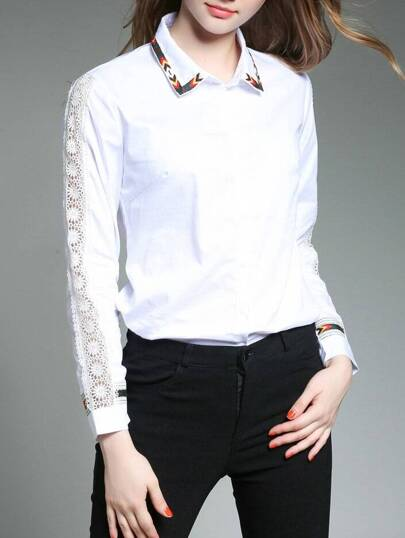 Embroidered Tape Detail Hollow Out Sleeve Shirt
