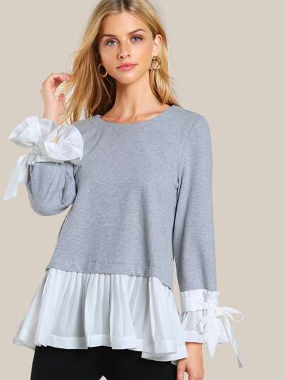 Bow Tie Pleated Cuff And Hem Sweatshirt