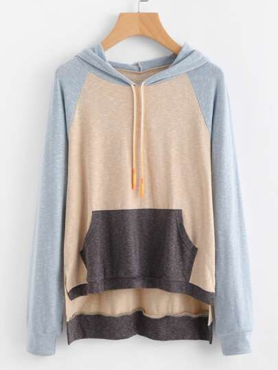 Slit Side High Low Hoodie With Cut & Sew Panel