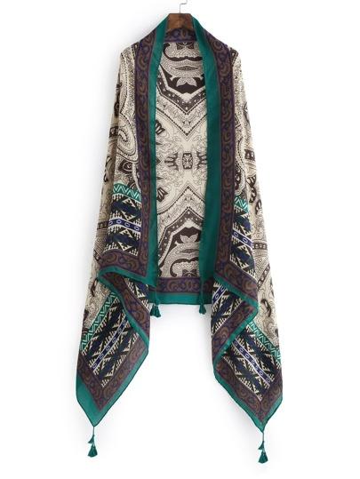 Модный шарф с принтом и бахромой
