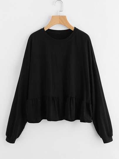 Drop Shoulder Frill Hem Batwing Sweatshirt