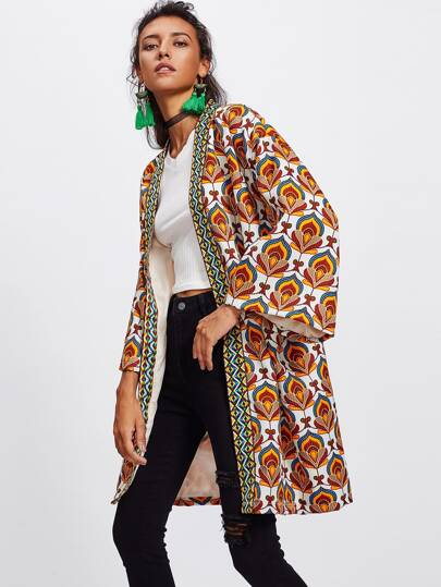 Ornate Print Embroidered Tape Trim Kimono Coat
