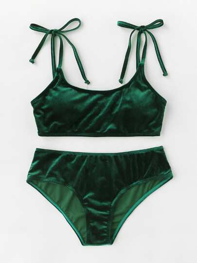 Bow Tie Shoulder Velvet Bikini Set