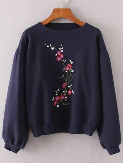 Lantern Sleeve Flower Embroidery Sweater