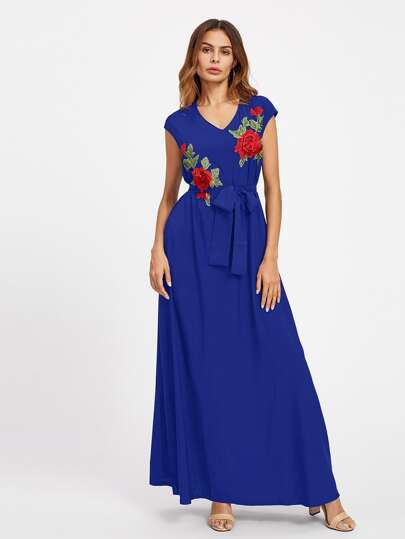 Embroidered Appliques Self Tie Dress