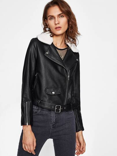 Belted Hem Fleece Collar Moto Jacket