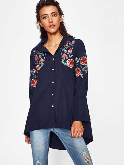 Botanical Embroidered Dip Hem Shirt