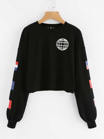 National Flag Print Raw Hem Sweatshirt