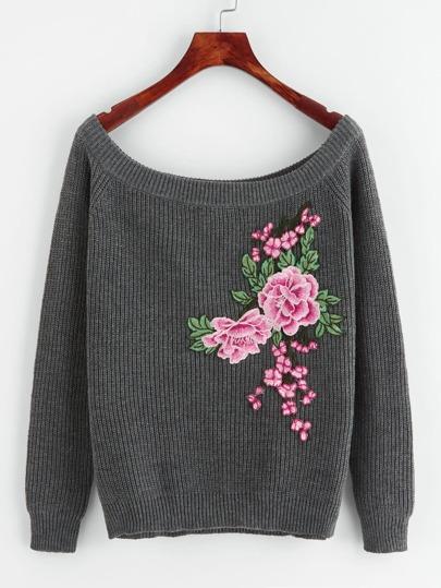 Embroidered Flower Patch Raglan Sleeve Jumper
