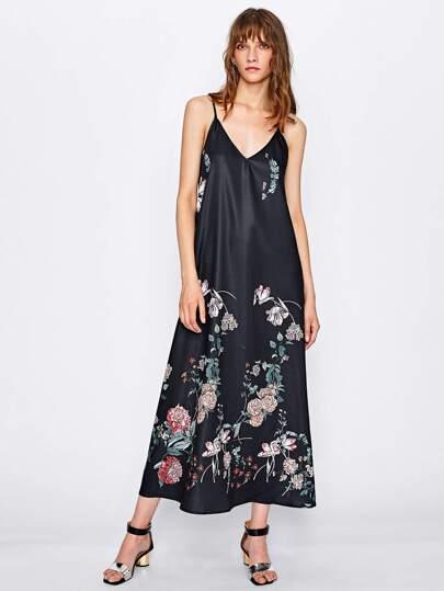 Botanical Print Swing Cami Dress