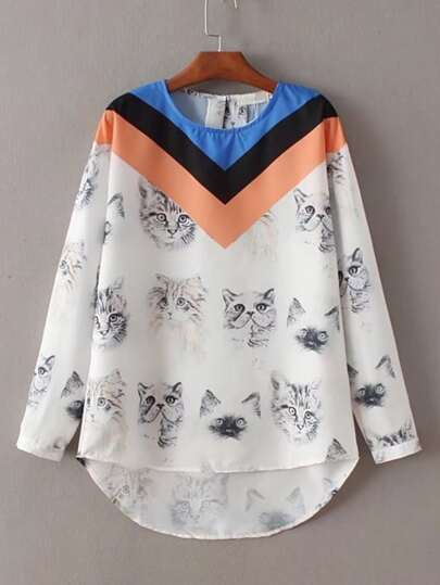 Cat Print High Low Top