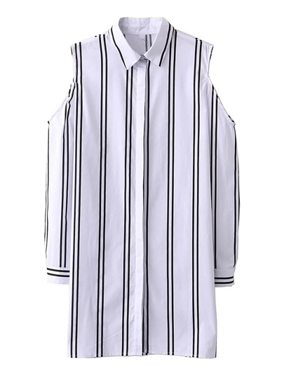 Cold Shoulder Striped Shirt Dress
