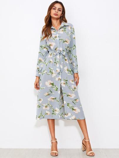 Модное платье-рубашка с принтом и поясом