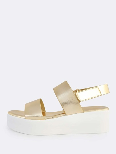 Two Band Velcro Ankle Strap Sandals GOLD