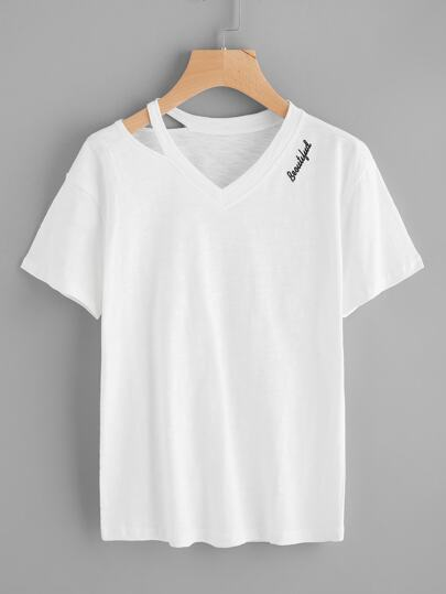 Cut Out V Neckline Letter Embroidered Tee