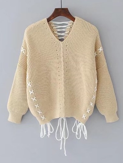 Drop Shoulder Crossover Lace Up Detail Sweater