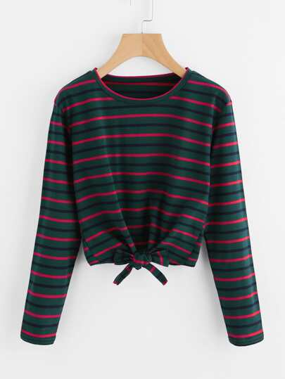 Striped Bow Tie Front T-Shirt