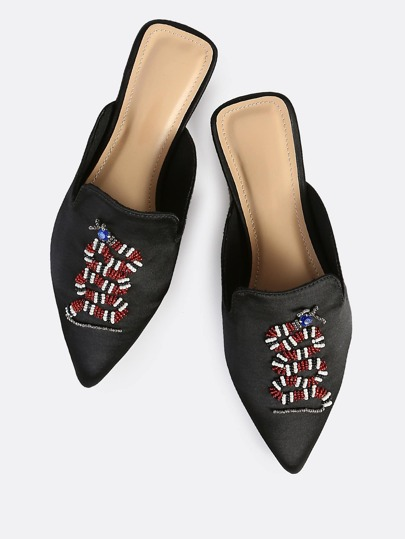 Point Toe Beaded Loafers BLACK