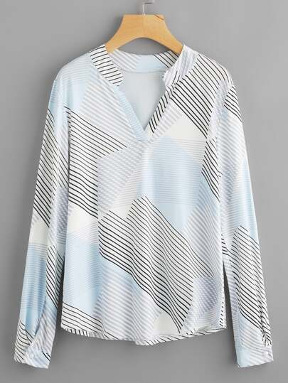 Abstract Stripe Print Blouse