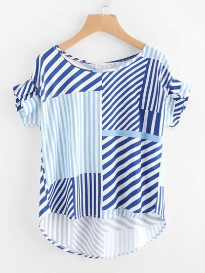 Random Stripe Print Frill Cuff Dip Hem Blouse