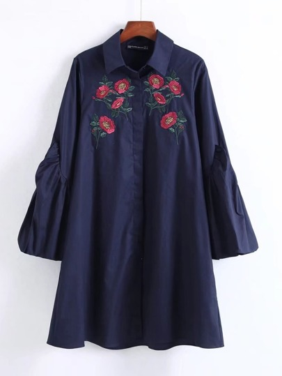 Flower Embroidery Lantern Sleeve Dress