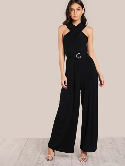 Sleeveless Belted Jumpsuit BLACK