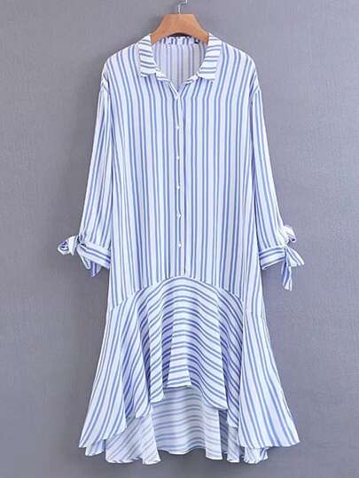 Vertical Striped Knot Cuff High Low Dress