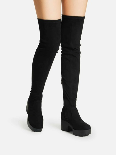 Side Zipper Over Knee Platform Boots