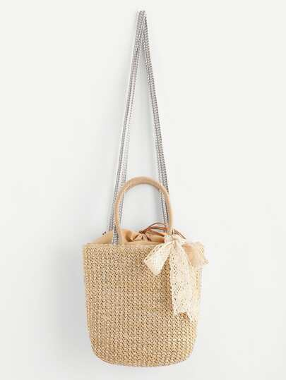 Drawstring Straw Shoulder Bag With Lace Bow
