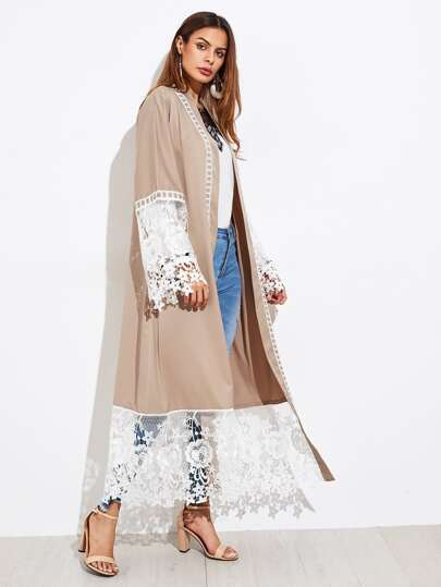 Contrast Lace Panel Self Tie Abaya