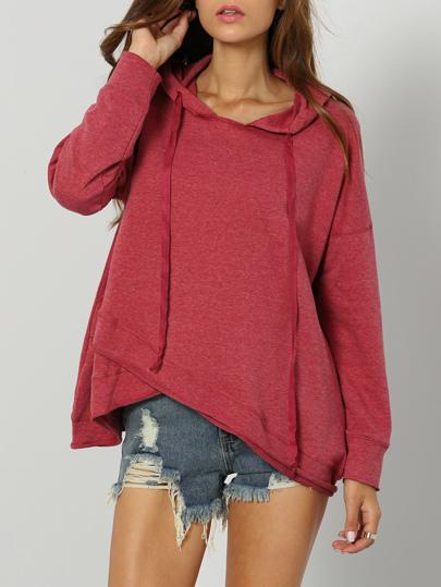 sweat-shirt avec capuche manches longues -rose rouge