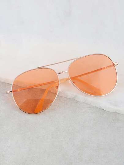 Colored Aviator Sunglasses ORANGE