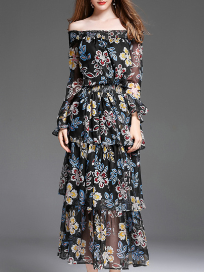 Elastic-Waist Floral Layered Dress
