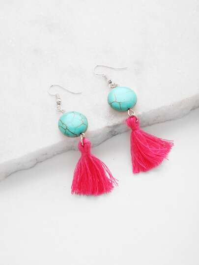 Tassel Drop Earrings With Gemstone