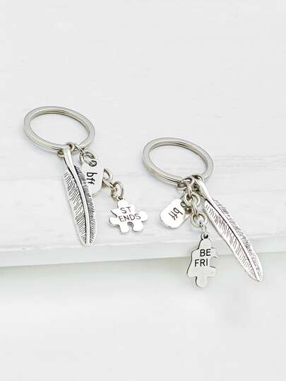 Feather Drop Friendship Keychain 2pcs