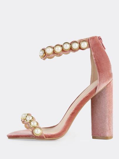 Velvet Pearl Ankle Strap Heels BLUSH