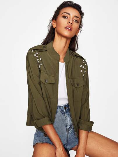 Rhinestone Embellished Flap Pocket Jacket