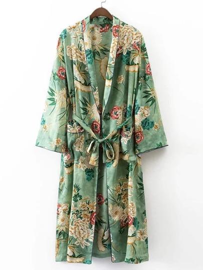 Kimono contrasté imprimé avec un lacet et bordure
